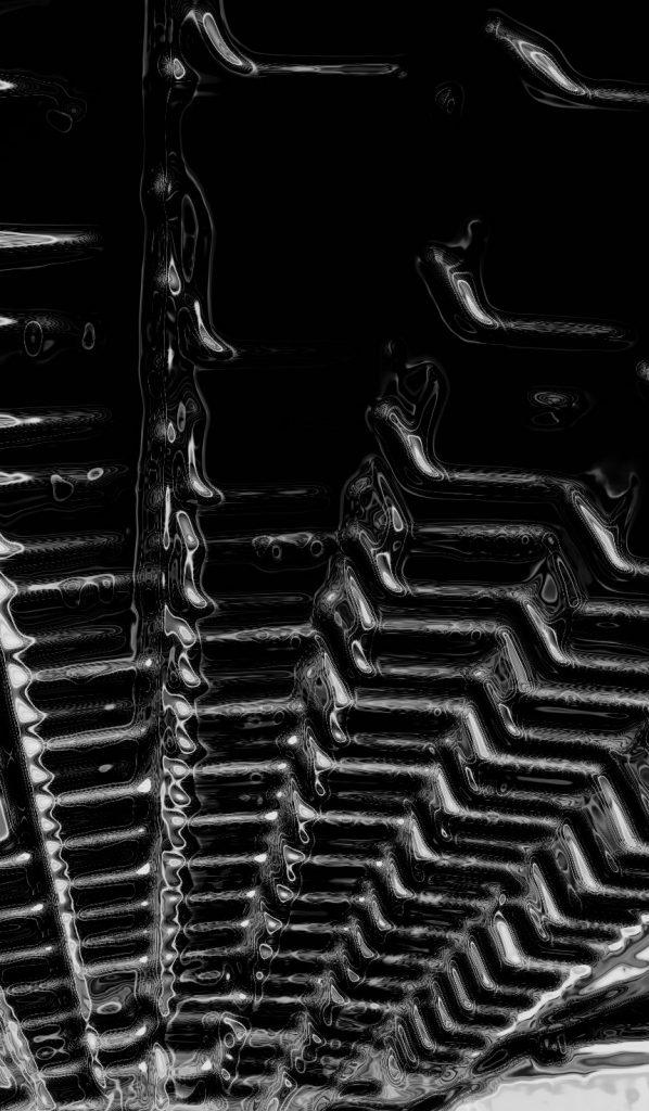 Es una cascada negra surcada por nano pulsos eléctricos. Observada desde el final, sus formas poligonales, abaldosadas, recuerdan a vetustas edificaciones megalíticas erigidas y escamoteadas...